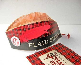 1950's Vintage A & P Store Plaid Stamps Promo Cardboard Advertising  Hat w Stamps, Unused, Red and Black