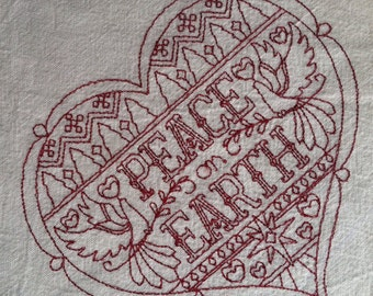 Embroidered Colonial Cotton Dish Towel With Hanging Loop - Peace on Earth