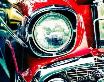 California Car Show: Vintage Car Red Chevrolet Headlight