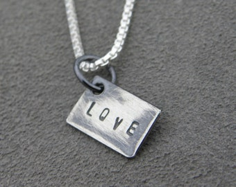 Sterling Silver Love Pendant - Stamp
