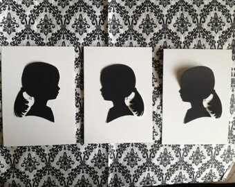 Custom silhouette portrait : (left & right) +1 extra from pictures (1 subject in all 3)