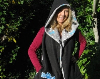 Adopt - Paw Print and Dog Bone Hooded Scarf with Pockets
