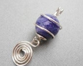 SALE Purple Crazy Lace Agate and Caged Silver Wire Pendant Item CP3003