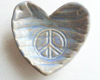 Potttery Peace sign design: mini heart ring dish soft rustic blue handmade tiny bowl