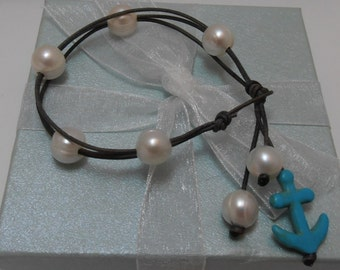 Genuine Freshwater Pearls and Leather 3 strand Bracelet natural white on Antiqued Grey Brown leather