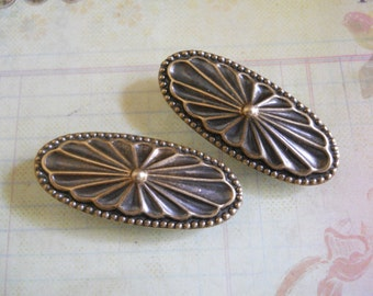 Embossed Brass Metal Hair Pins with French Clips Barrettes