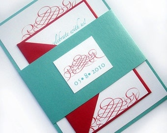 "Aqua and red Wedding invitation set, Elegant wedding invitation suite ""calligraphy wedding invitation"" turquoise, teal modern Calligraphy"