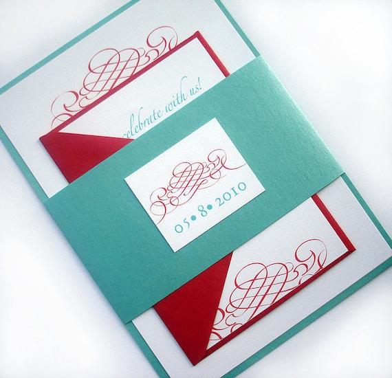 Aqua and red Wedding invitation set Elegant wedding – Tiffany Blue and Red Wedding Invitations