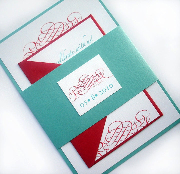 Turquoise And Red Wedding Ideas: Aqua And Red Wedding Invitation Set Elegant Wedding