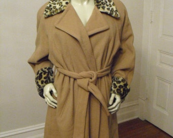 Designer  Connie Manos Of California Mid Length Wool Camel Colored Coat With Fake Leopard skin Collar and cuffs Comes with Matching Hat.