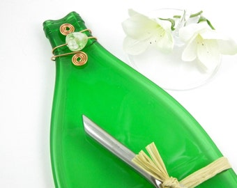 Bright Green Flattened Pellegrino Bottle Cheese Tray - Recycled Bottle Plate