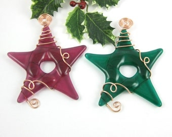 Red and Green Glass Star Ornament - Two Fused Glass Star Christmas Tree Ornaments