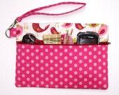 Pink Polka Dot Clutch, Green Maroon Bird Print Wristlet Wallet, Pink Bird Print Makeup Storage, Camera, Gadget and Phone Bag