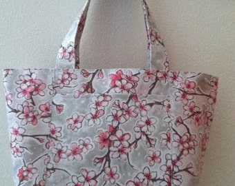 Beth's Medium Gray Apple Blossom Oilcloth Tote with Exterior Pockets