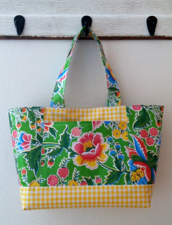 Beth's Vintage Floral Large Oilcloth Tote with Exterior Pockets