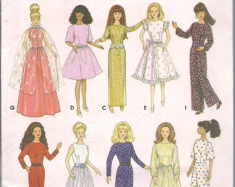 11 1/2 Inch Fashion Doll Clothing Ptterns - 2 Patterns - McCalls 3276, Simplicity 9838, Sew Doll Clothes