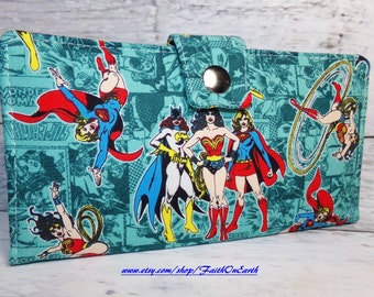 Handmade Long fandom geek Wallet  BiFold Clutch - Vegan Wallet -Comic book Girl Super Hero wallet in teal