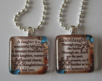 Daughter OR Granddaugther with Saying Glass Tile Pendant