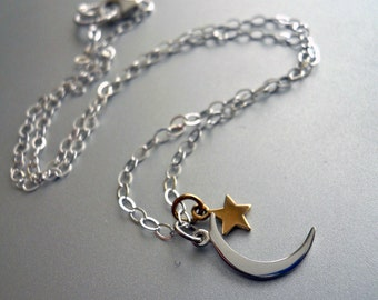 Crescent Moon Necklace, Moon and Star Necklace, stargazing necklace, SALE PRICE , astronomy jewelry, galaxy jewelry, Sterling crescent moon