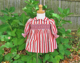 Baby girl smocked dress, red and white stripe, long sleeves, size 6 Months, ready to ship, Christmas, OOAK, shabby roses, infant dress,