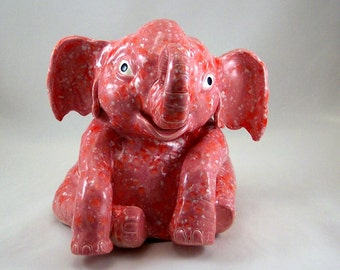 Hand Sculpted Ceramic Elephant Bank Pink