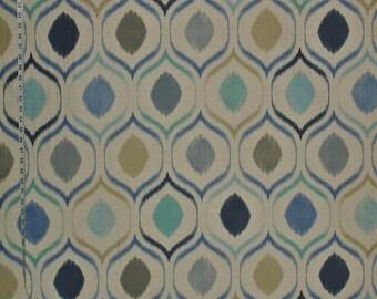 Indigo blue ikat fabric aqua upholstery interior home decorating material linen mid century modern decor 1 yard