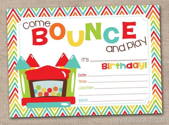 bounce house party invitations | futureclim, Birthday invitations