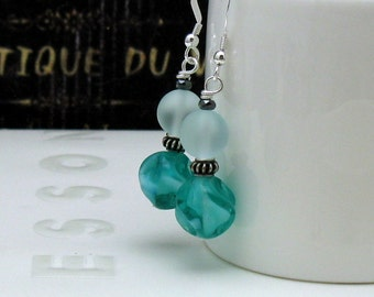 Teal Glass and Sterling Silver Dangle Drop Minimalist Earrings    for Her Under 40 Free Gift Wrap