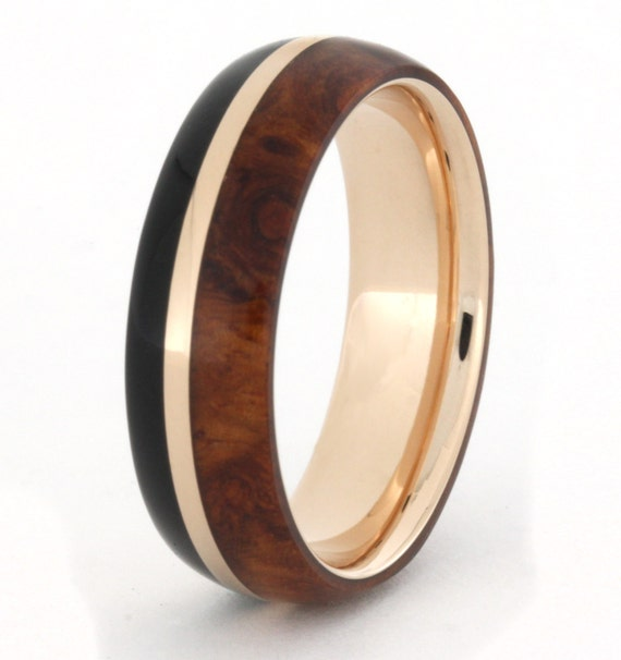 African Blackwood Bands: 14k Rose Gold Ring With African Blackwood And By