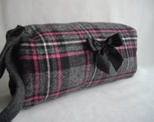 Pink ad Grey Plaid Vintage Inspired Reversible Hand Muff With Pocket All New Materials Handmade by handcraftusa Etsy