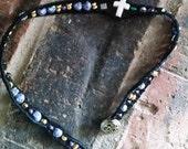 Purple, Gold cross beaded Wrap Bracelet