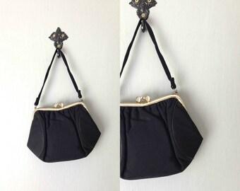 Vintage LORNA Purse • 1950s Handbag •Mid Century Black Grosgrain Satin Structured Top Handle Bag • Formal Going Out Classic Basic Handbag