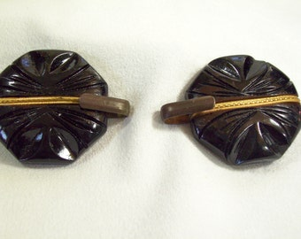 2 Antique Bakelite Black Gold Cape Cloak Clasps Closings Hooks Sewing Projects Renissance Clothing