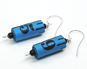 Tape Measure Earrings- Upcycled Black & Blue Found Object Jewelry, Gift for Sewer, Sewing Jewelry, Ruler Jewelry