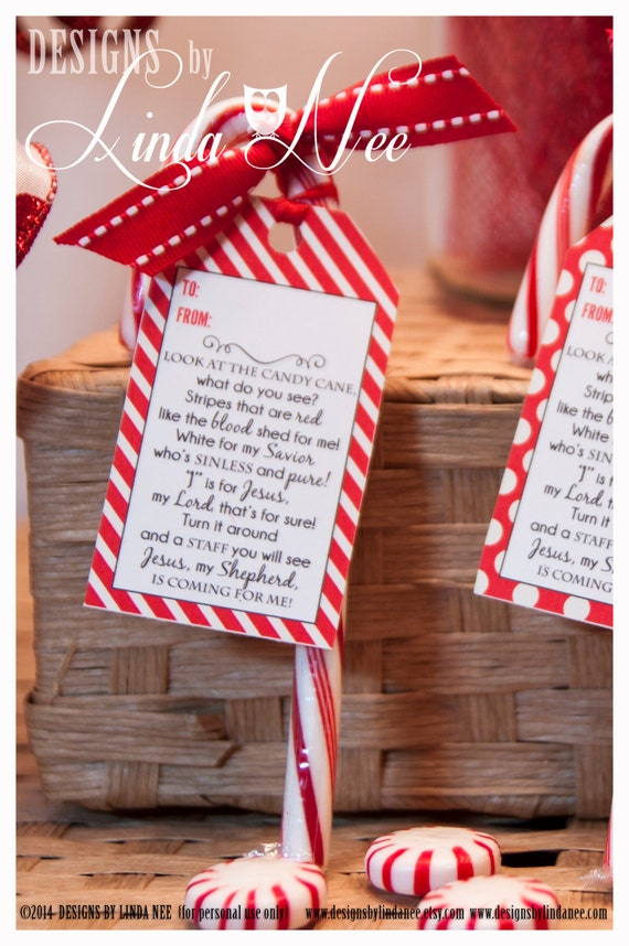 Legend of the candy cane gift tag card for witnessing at christmas