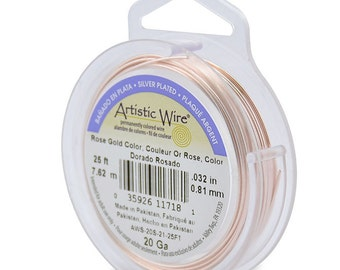 Artistic Wire Rose Gold Color 20 Gauge 43211 25 Feet, Round Wire, Jewelry Wire, Wire Wrapping, Craft Wire, Silver Plated Wire
