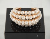 CHANEL Vintage 5 Rows faux pearl & gold bracelet Open Cuffs MP