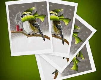 Chickadee, Bird, Blank Greeting Cards, Set of Four - Size A2 - Snowstorm, Winter, Chilladee