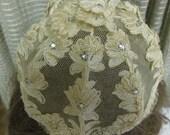 SALE Vintage 1968 Bridal Embroidered Pearl Crystal Lace Hat Crown Wedding Headpiece