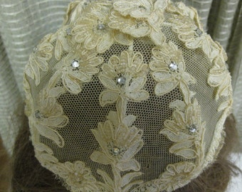 SALE Vintage 1968 Bridal Embroidered Pearl Crystal Lace Hat Crown Wedding Headpiece