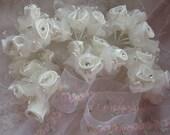 36 pc IVORY Wired Satin Organza Rose Rhinestone Beaded Flower Applique Bridal Wedding Bouquet