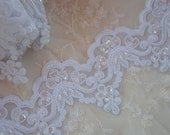 WHITE beaded flower lace trim embellished embroidered organza doll bridal with pearls sequins flowers