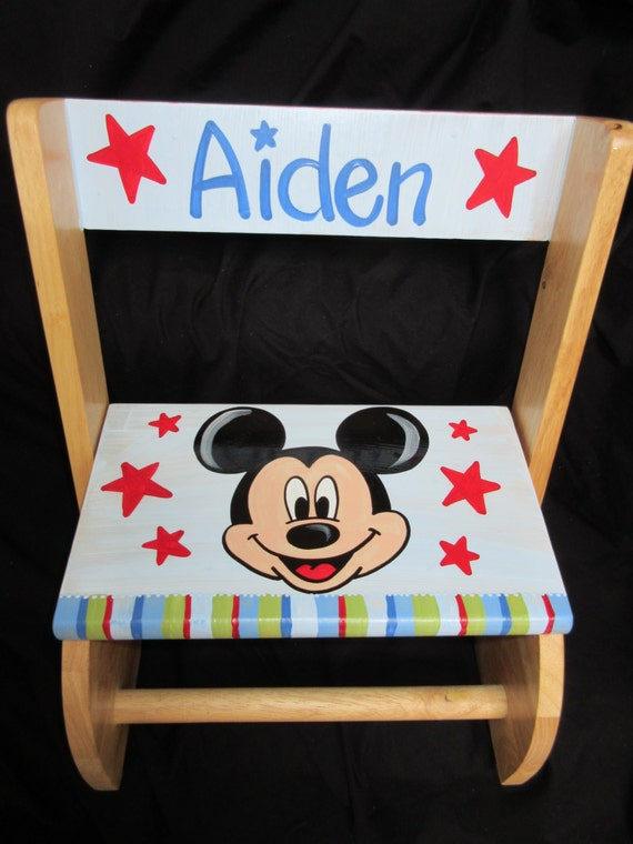 Items similar to personalized chair step flip stool mickey mouse star on etsy - Mickey mouse stool ...