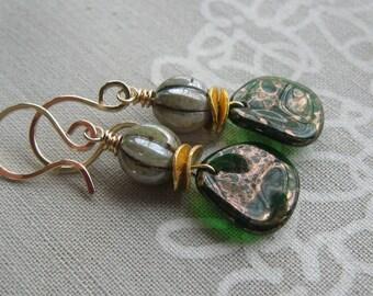 Gold Filled Green Czech Glass Petal Earrings