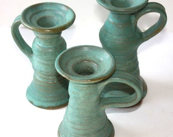 Blue Green Candlestick Trio in Stoneware For Indoor Decor Or Lighting on Deck