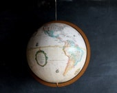 Shabby Spinning Earth Vintage Globe on Stand Library Home Decor Sphere