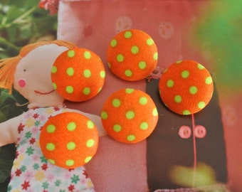 Fabric Buttons, Retro Orange Lime Green Polka Dots Fabric Covered Buttons, Retro Polka Dots Fridge Magnets, Flat Back, CHOOSE SIZE 5's
