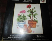 Flower Geraniums Bucilla 45175 Counted Cross Stitch Kit Quick and Easy