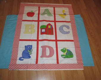 Pre Printed Fabric Panel A B C Letter Alphabet Cheater Baby Blanket