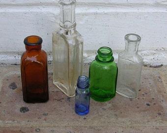 Instant Collection of 5 Antique Vintage Bottles -Blue-Amber Brown-Green Bottles